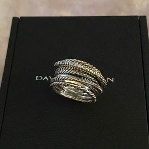 David Yurman Diamond Crossover Ring size 7